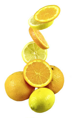 composition of isolated oranges and lemon as sample of my food images