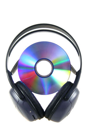 media disc and earphones on white background
