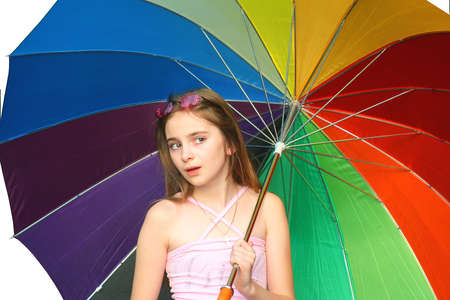 young girl with umbrella on whjite background as sample of my isolated images
