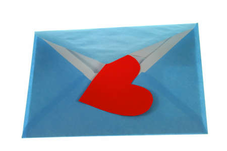 Heart and mail as symbol for love and relationship on white background. See my other objects for romace symbols