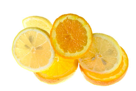 isolated orange and lemon on white background as sample of my food images
