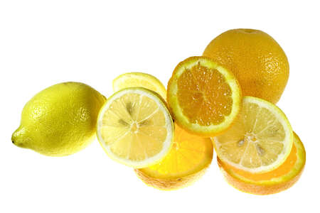 orange and lemon on white background as sample of my food images Stock Photo