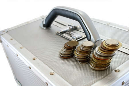 suitcase with money Stock Photo