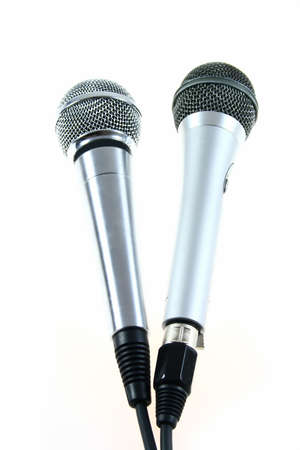 two different microphones on white background Stock Photo