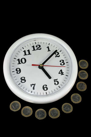 white clock and money on black background as symbol and sample for my isolated business and concept images