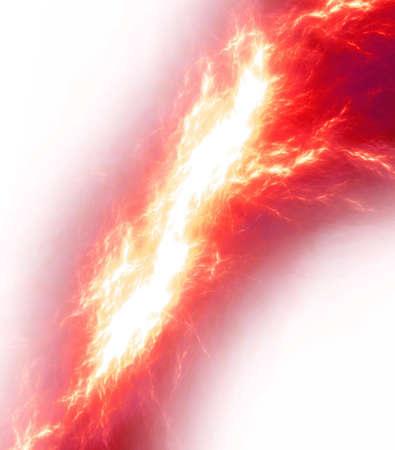red lightning bolt over white Stock Photo