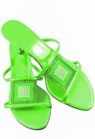 sexy green shoes isolated on white