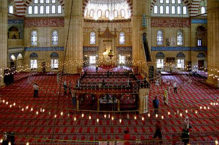 edirne: Mosque interior with lights in Edirne, Turkey Editorial
