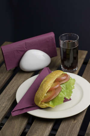 Fresh sandwich on plate and juice of glass photo