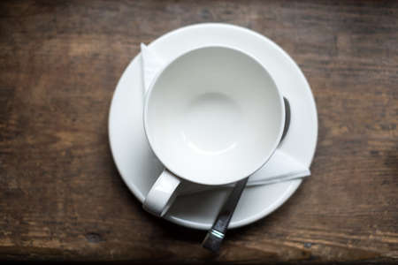 emty: Emty tea cup on wood table Stock Photo