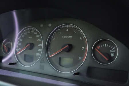 Car Interior Odometer Panel Shows Speed Fuel and Other Signs
