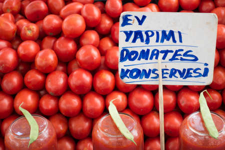 Homemade Tomato Pastes and Organic Tomatoes For Sale in Market Stall