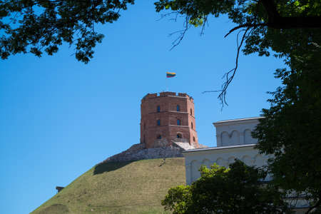 Castle Hill Tower Maden By Bricks 03 July 2015 in Vilnius  Stok Fotoğraf - 96422404