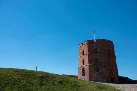 Castle Hill Tower Maden By Bricks 03 July 2015 in Vilnius  Stok Fotoğraf - 96422464