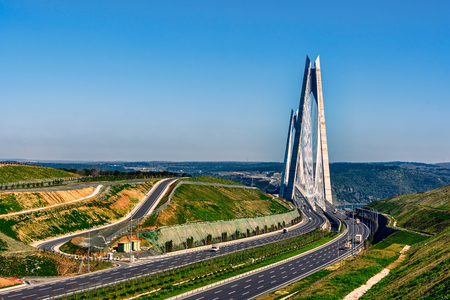 Yavuz Sultan Selim Bridge connecting Europe to Asia as seen from European side under clear blue skies. Editorial