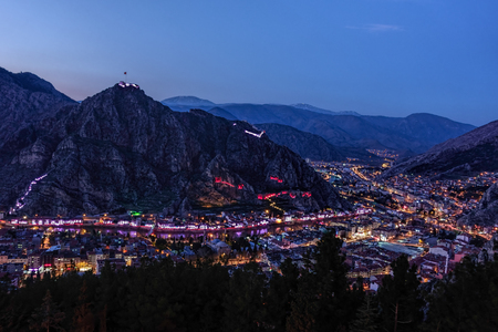 Night skyline of an historical Anatolian town Stock Photo