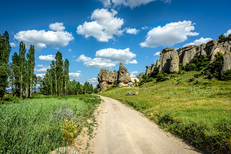 Beautiful landscape under blue skies with fluffy white clouds