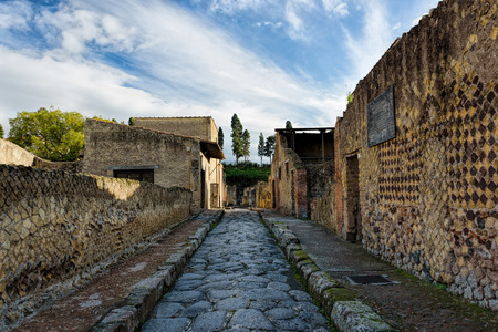 Partially excavated and restored ancient ruins of Herculaneum Фото со стока
