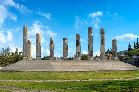 The ionic temple in Smintheion, an Apollo sanctuary in northwestern Turkey Stock Photo