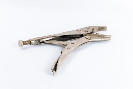 Jaw locking pliers isolated on white background Stock Photo