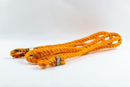 Orange nylon rope isolated on white background