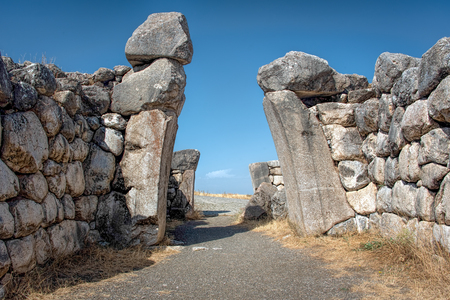Lions Gate at Hattusa, the capital of the Hittite Empire in the late Bronze Age. Its ruins lie near modern Bo�azkale, Turkey, within the great loop of the K�z�l�rmak River, UNESCO World Heritage list
