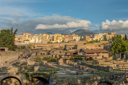 Herculaneum destroyed by volcanic pyroclastic flows in 79 AD, Roman ruins, UNESCO, World Heritage Site, Gulf of Naples, Ercolano, Campania, Italy