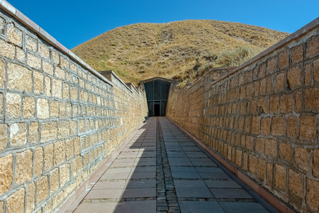 Tumulus of Midas or Tomb of Midas, King of Phrygia, near the ancient city of Gordion at Yass�huyuk village in the district of Polatl� southwest of Ankara, Turkey
