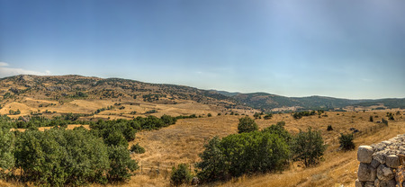 Panoramic View from Hattusa, the capital of the Hittite Empire in the late Bronze Age. Its ruins lie near modern Bo�azkale, Turkey, within the great loop of the K�z�l�rmak River, UNESCO World Heritage list