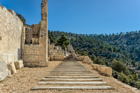 Alahan is a late Roman ecclesiastical complex a monastry built on a series of terraces towards the top of a mountain in southern Anatolia, Turkey