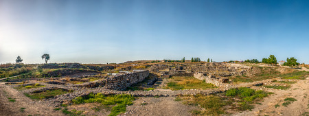Panoramic view of the archaeological site of Alacahoyuk, Corum, Turkey - Hittite Civilization dating prior to 1700 BC under clear blue skies 写真素材