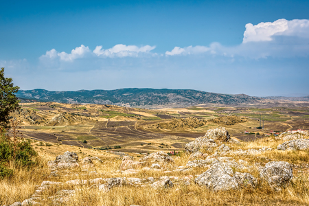 Panoramic View of Hattusa, the capital of the Hittite Empire in Bronze Age. Its ruins lie near modern Bo�azkale, Turkey, within the great loop of the K�z�l�rmak River, UNESCO World Heritage li 写真素材