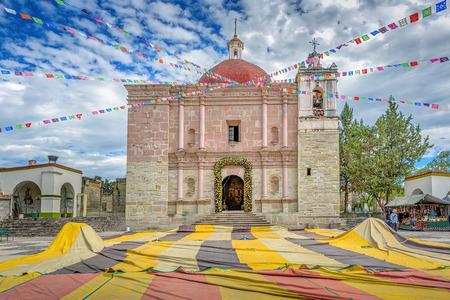 A beautiful colorful old church in Mitla, Oaxaca, Mexico