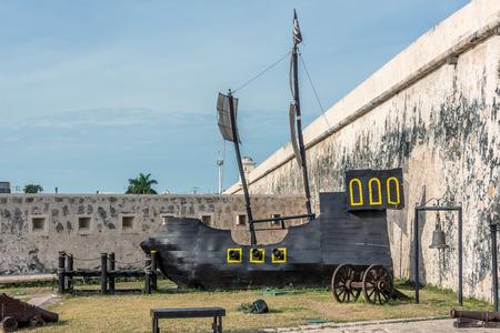 Wooden replica of an old sail ship in San Francisco de Campeche, Mexico