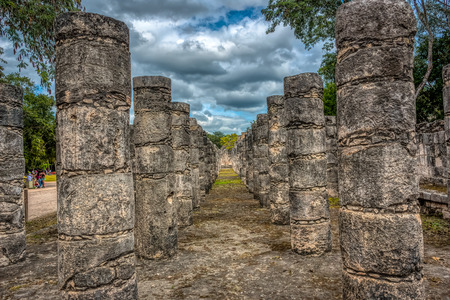 Columns in the Temple of a Thousand Warriors, Chichen Itza, Yucatan District, Mexico