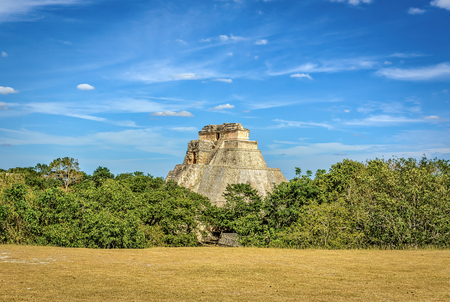 Pyramid of the Magician a step pyramid located in Uxmal, Mexico