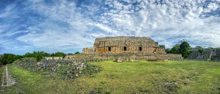Panoramic view of Kabah, Maya archaeological site, Merida, Yucatan, Mexico