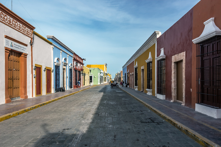 Cobblestone street with colorful houses in San Francisco de Campeche, Mexico