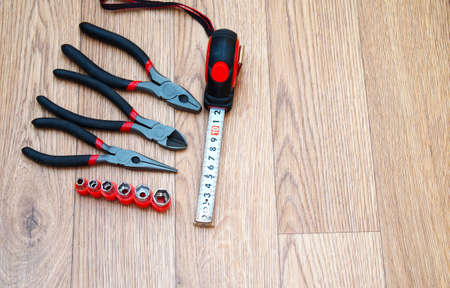 mechanical works: tools for mechanical works on the wooden background Stock Photo