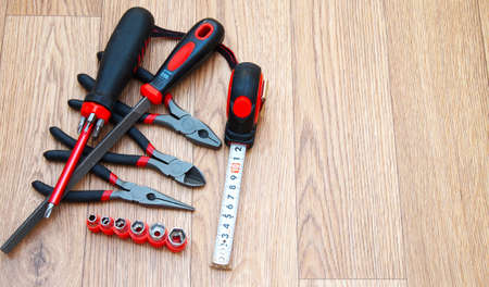 mounting: Bench and mounting tools on a wooden background