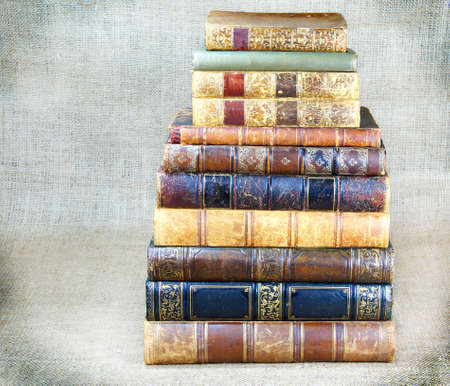 scientific literature: some old books on canvas background Stock Photo