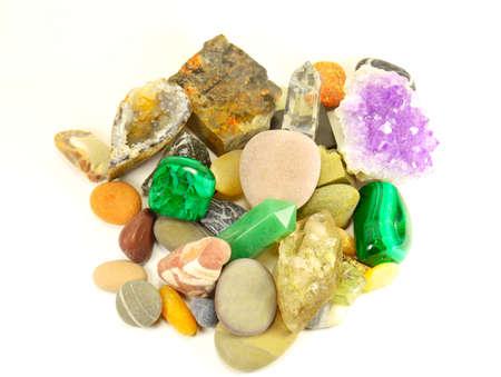 semiprecious: semi-precious minerals on white background isolated