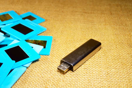 memory card: slide films and a memory card