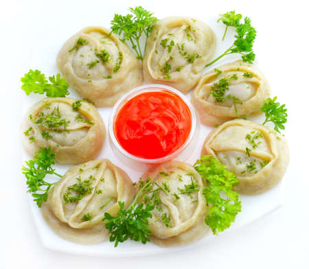 kazakh: The National Kazakh and Uzbek cuisine - manti Stock Photo