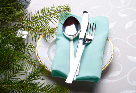 flatware: flatware and the Christmas tree Stock Photo