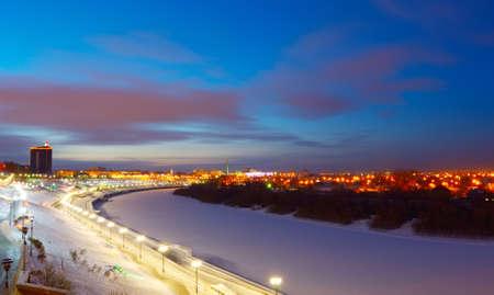 embankment: Tyumen. Panorama of the winter embankment Stock Photo