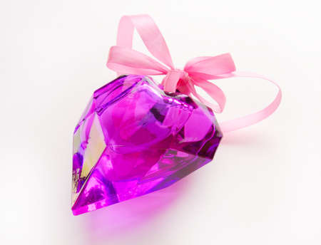 crystal heart: Crystal Heart in a gift Stock Photo