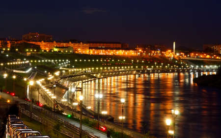 Night view of the embankment in Tyumen Stock Photo