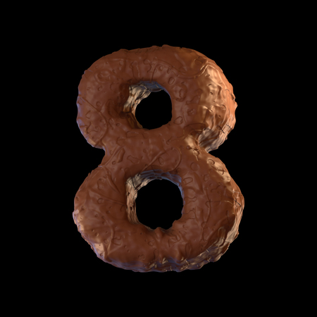 3d font, number made of chocolate on black background.