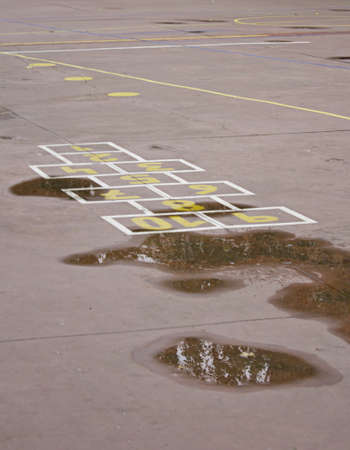 School yard with childrens drawn on the floor, play school photo